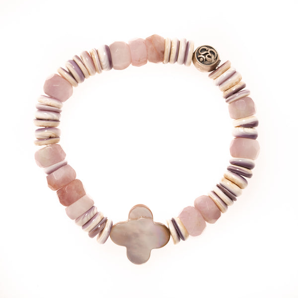 Strawberry Quartz, Purple Opal, Mother of Pearl Clover and Silver Om Bead Bloom Bracelet