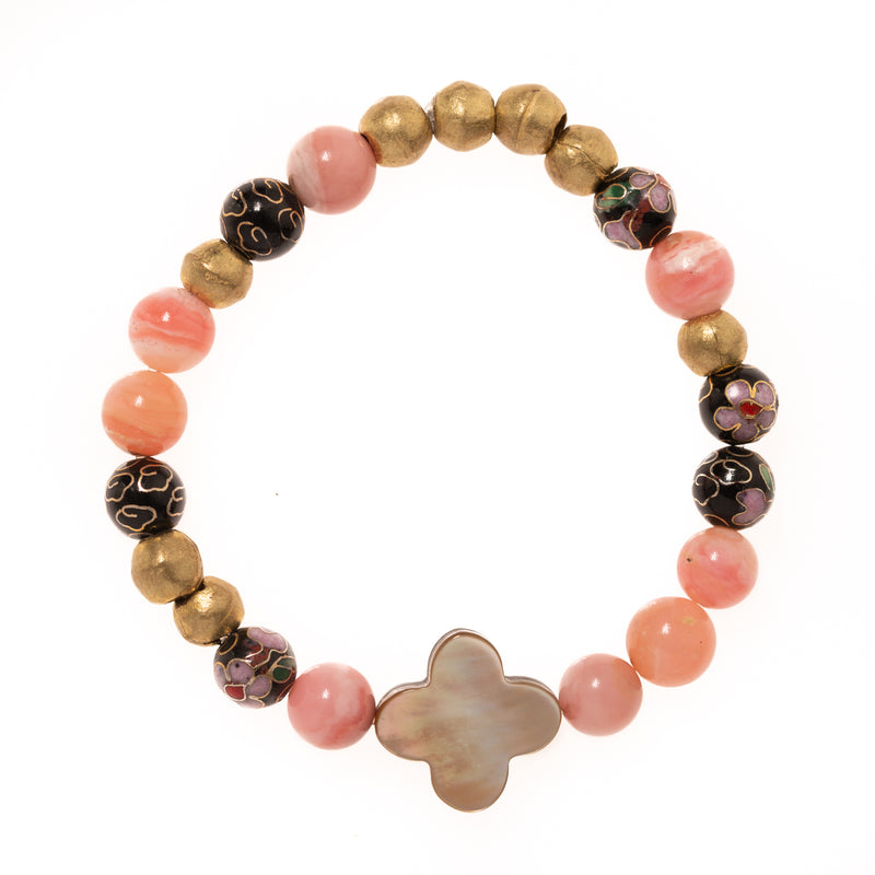 Pink Onyx, African Brass, Vintage Cloisonne Beads with Mother of Pearl Clover Bloom Bracelet