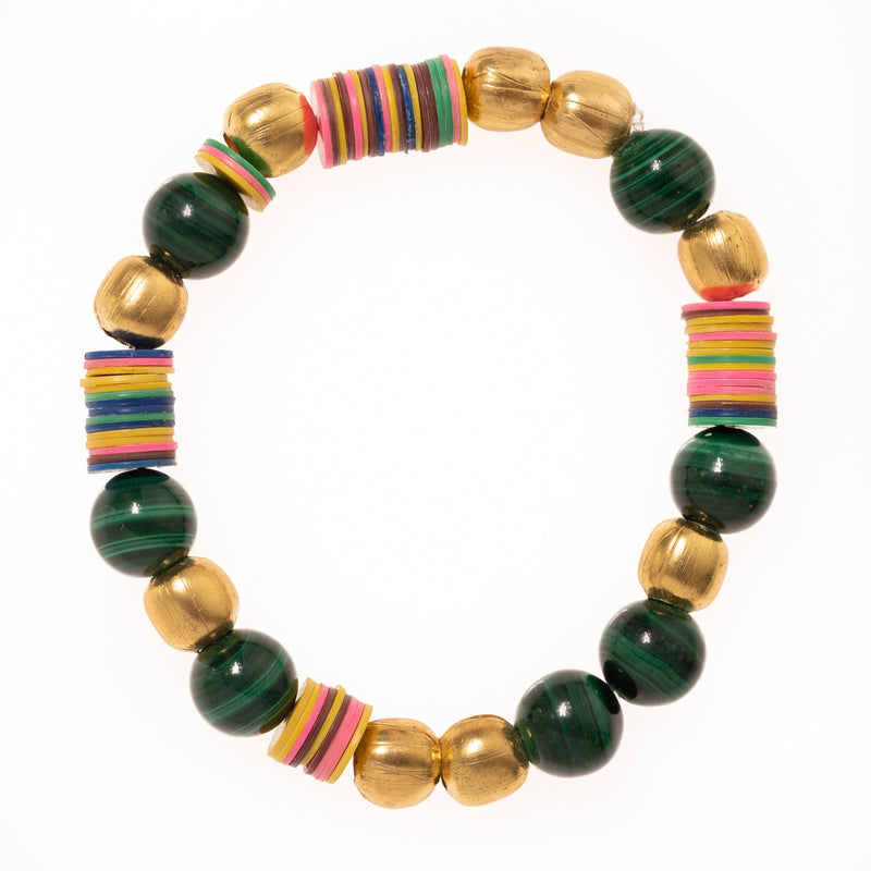 African Brass, African Vinyl, Malachite Bloom Bracelet