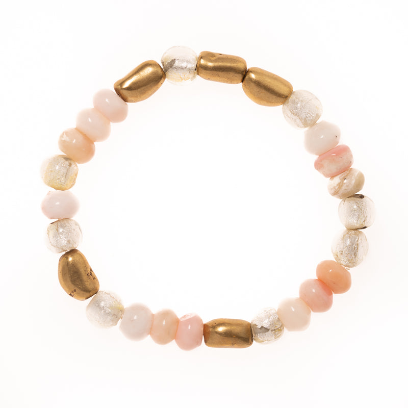 Pink Opal, Rutilated Quartz, Vintage African Glass, and Brass Bead Bloom Bracelet