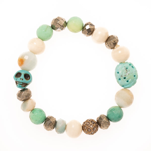 Amazonite, Pyrite, African Vinyl Beads with Resin Skull and Brass Diamond Bead Bloom Bracelet