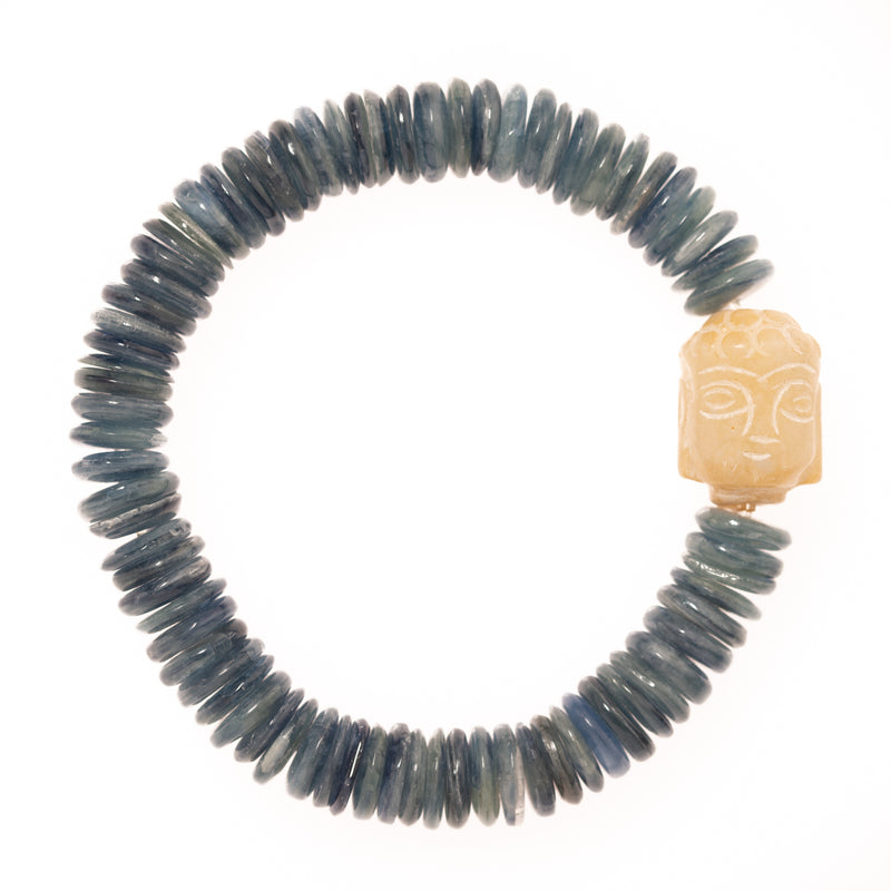 Kyanite Discs and Ivory Buddha Bead Bloom Bracelet