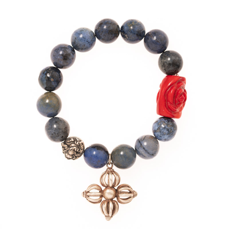 Lapis Beads with Rose Carved Coral and Ganesha Bead and Silver Cross Pendant Bloom Bracelet