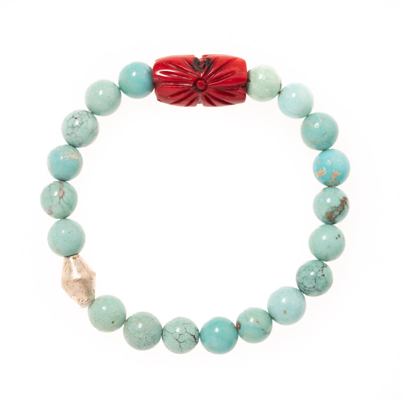 Turquoise Beads with Silver African Brass and Carved Red Coral Bead Bloom Bracelet