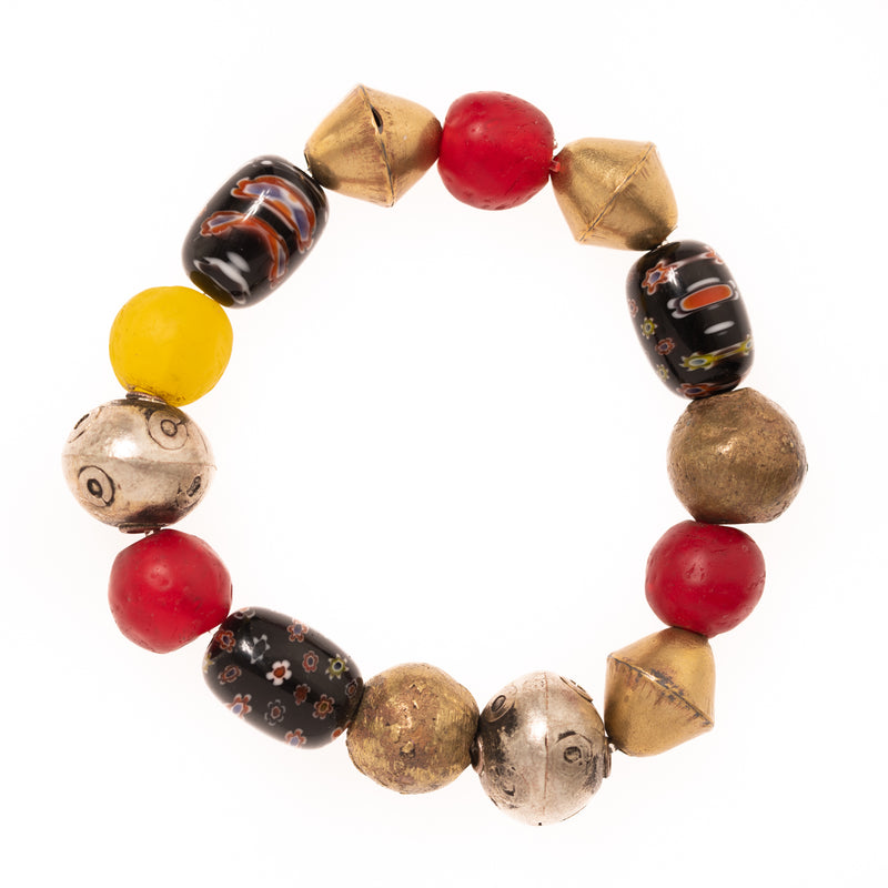 Vintage African Brass, Beads, and Glass Beads Bloom Bracelet