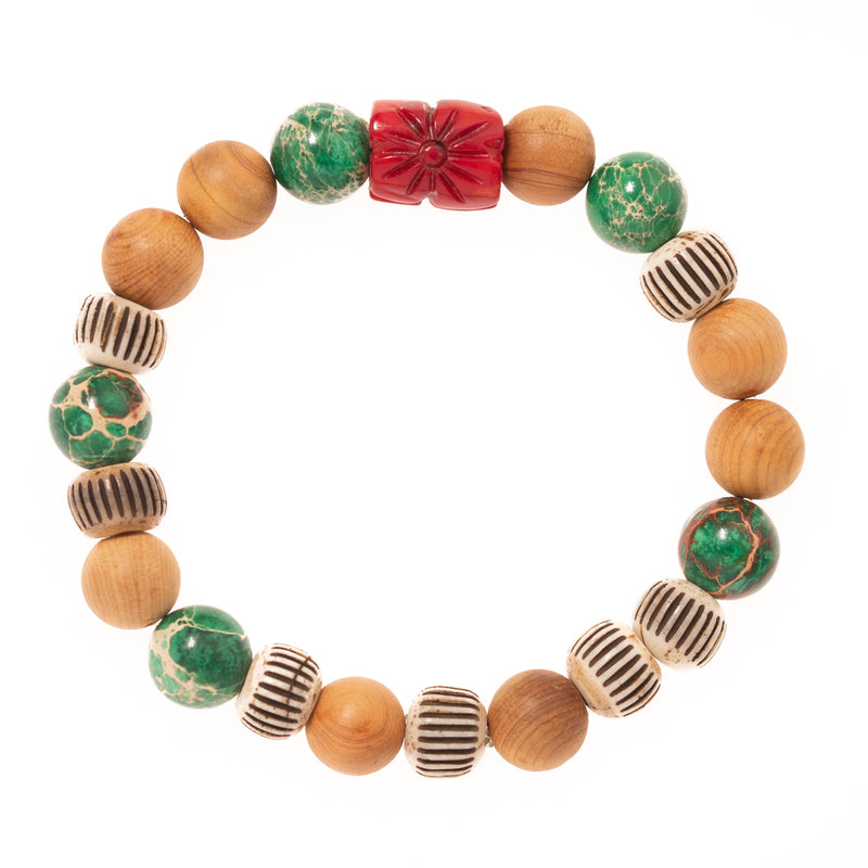 Sandalwood, Buffalo Horn, Imperial Pine Turquoise and Carved Coral Bead Bloom Bracelet
