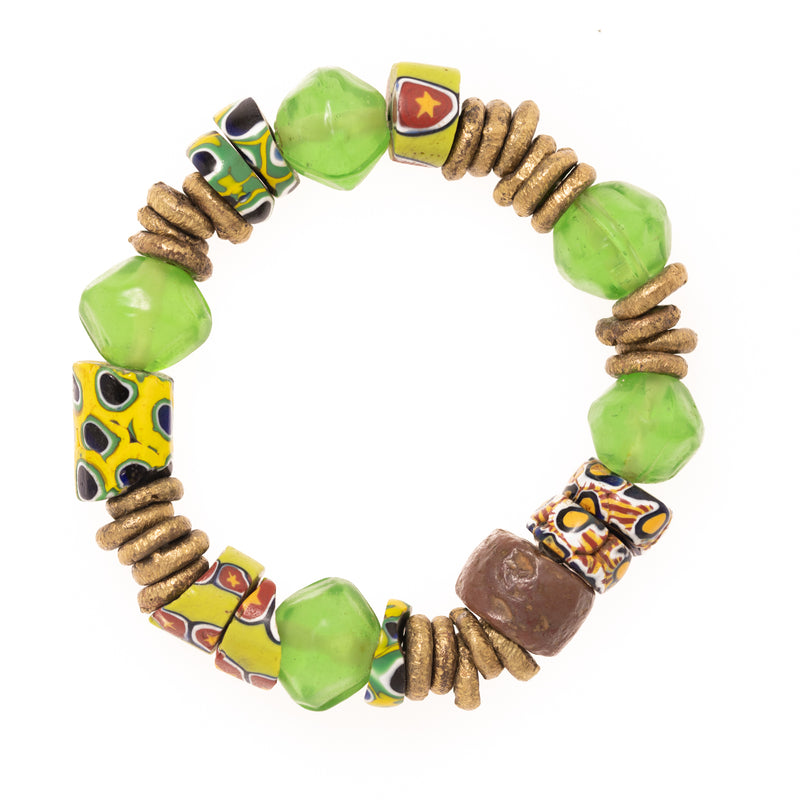 Vintage African Vinyl, Clay, and Brass Beads Bloom Bracelet