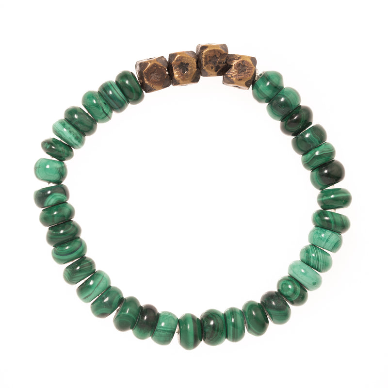 Malachite and Brass Beads Bloom Bracelet