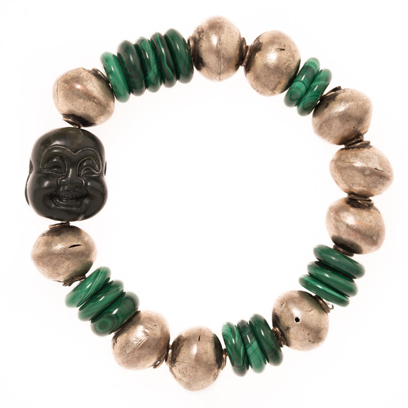 Malachite and Vintage African Brass Beads with Jade Buddha Bloom Bracelet