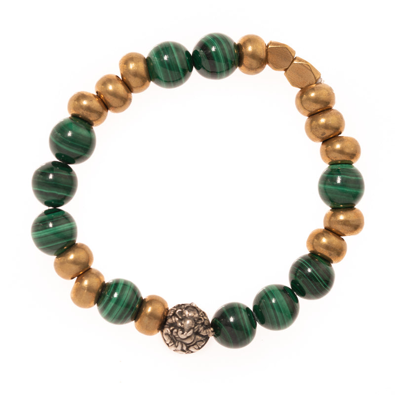 Malachite Bead and African Brass Beads with Silver Ganesha Bead Bloom Bracelet