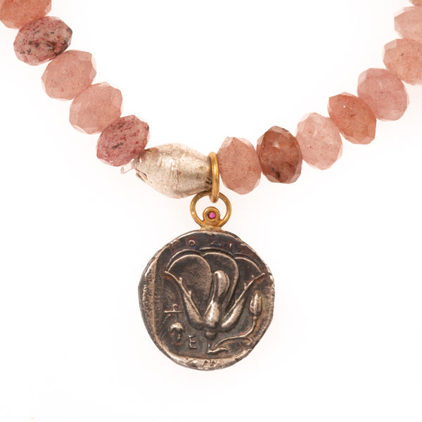 Rose Quartz and Silver African Brass with Turkish Silver and 24K Gold Coin Pendant with Ruby Bloom Bracelet
