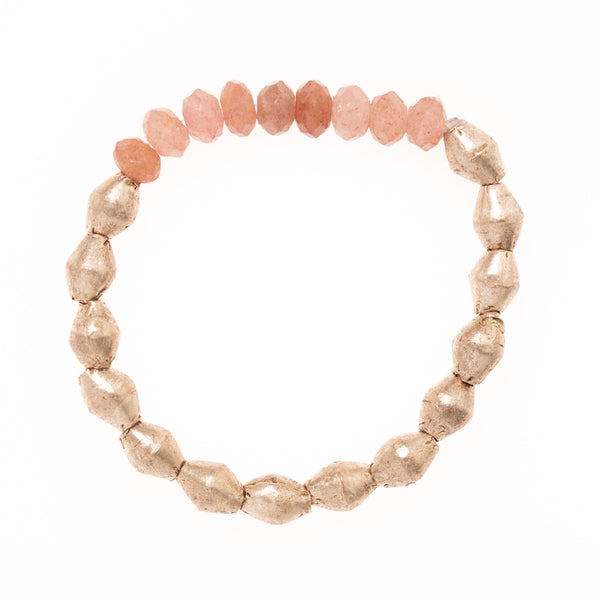 Rose Quartz with Silver African Brass Beads Bloom Bracelet
