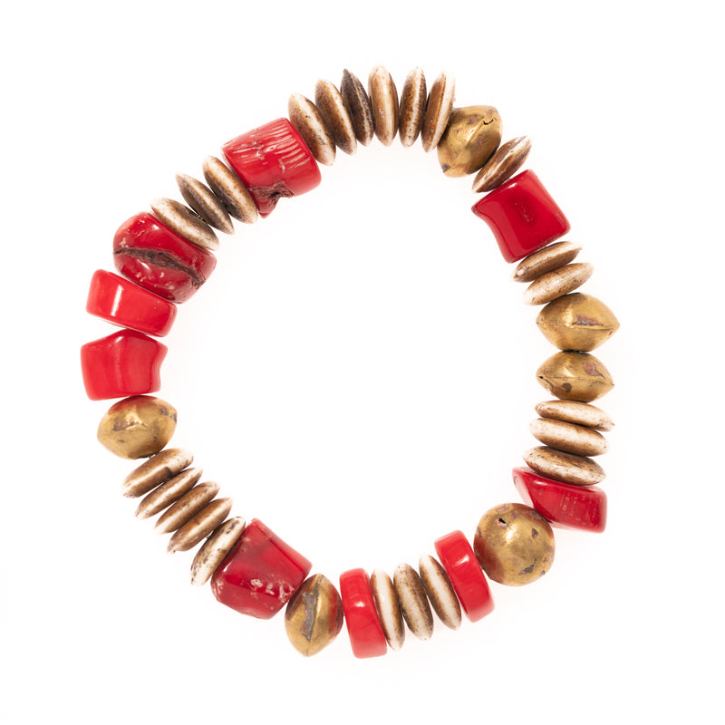 Buffalo Bone, African Brass, and Red Coral Beads Bloom Bracelet