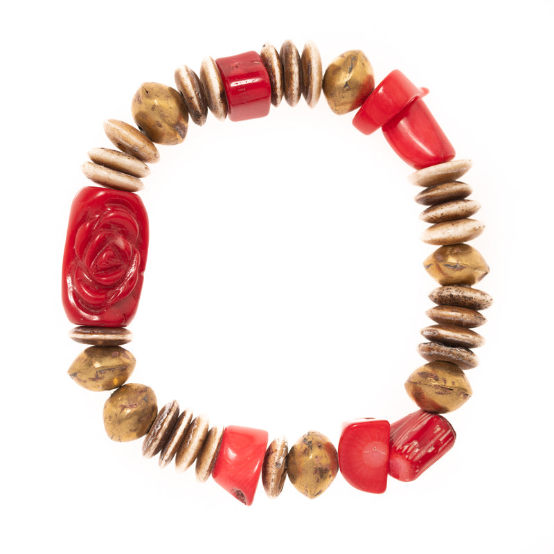 Buffalo Bone, African Brass, Red Coral with Carved Coral Bead Bloom Bracelet