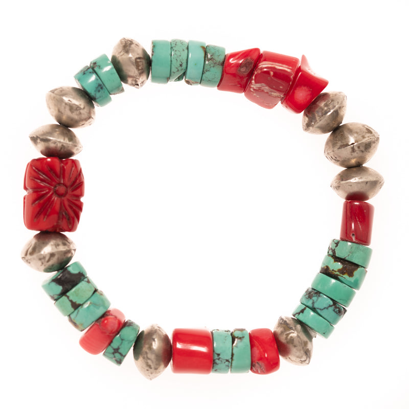 Turquoise, Red Coral, and African Brass Beads Bloom Bracelet