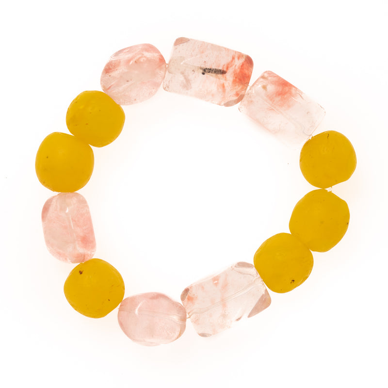 Yellow African Glass and Pink Crystal Bloom Bracelet