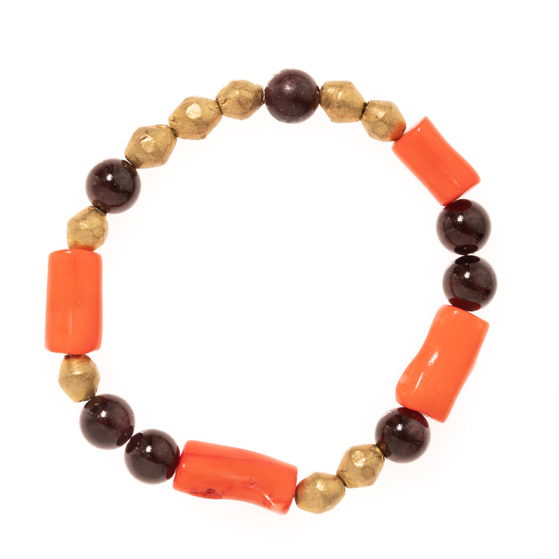 African Brass with Red Garnet and Coral Beads Bloom Bracelet