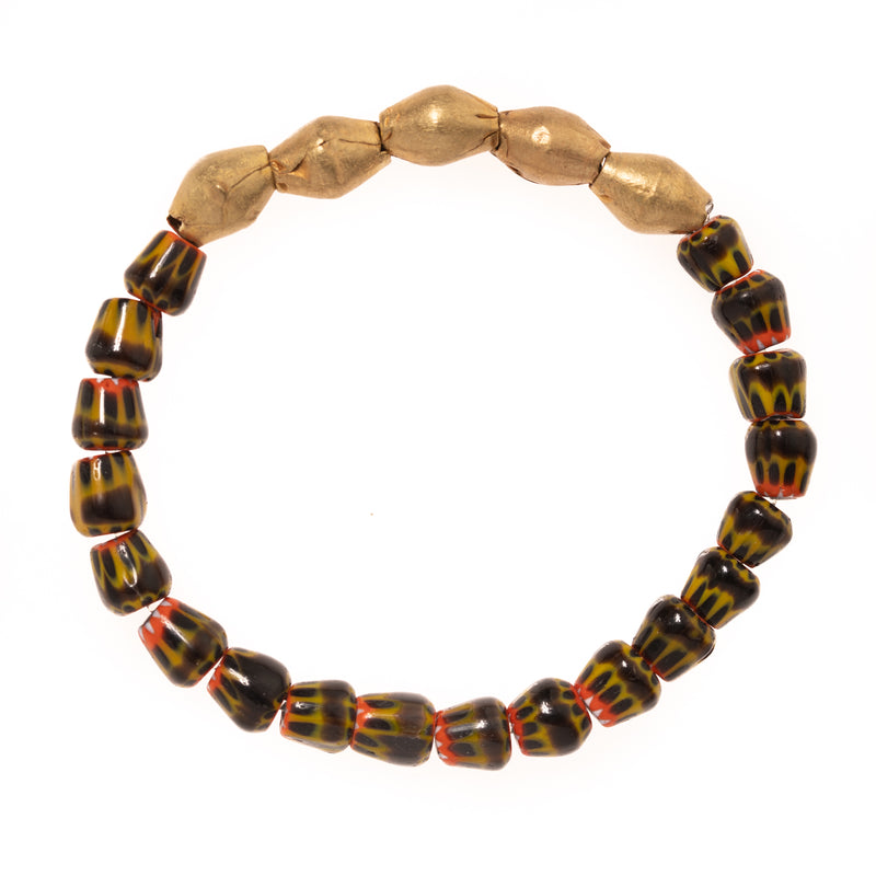 African Brass with African Glass Beads Bloom Bracelet