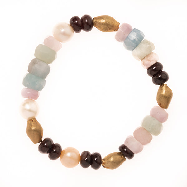 African Brass, Pink Pearls, Red Garnet, Kunzite, and Amazonite Beads Bloom Bracelet