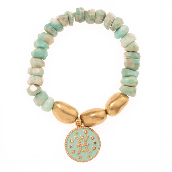 Russian Amazonite and Brass Beads with Gold Diamond and Enamel Pisces Pendant Bloom Bracelet