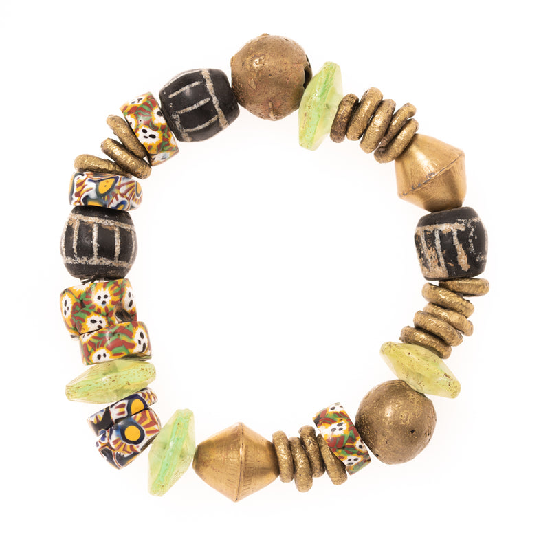 Vintage African Vinyl, Brass, and Clay Beads Bloom Bracelet