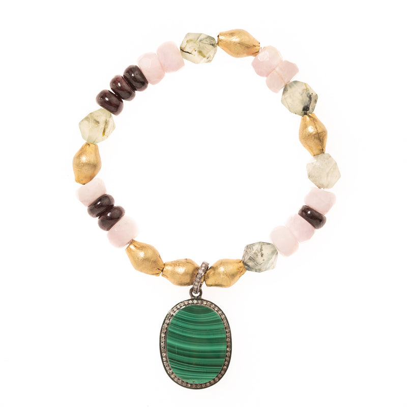 Green Rutilated Quartz, Brass, Kunzite, and Red Garnet with Malachite and Diamond Pendant Bloom Bracelet