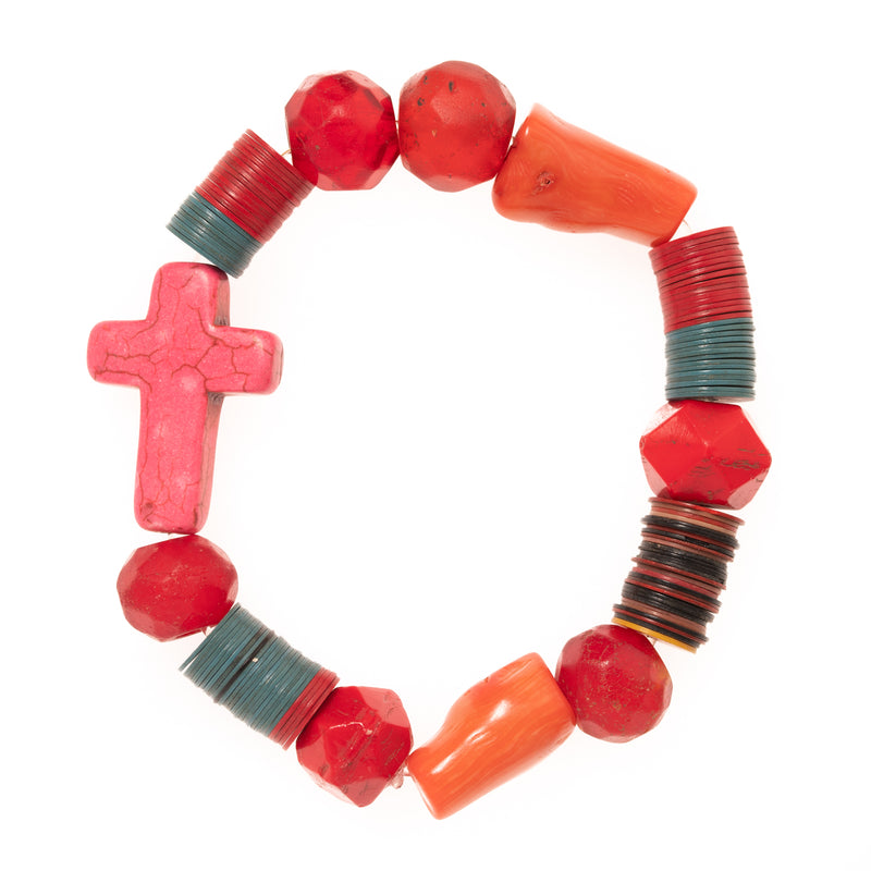 African Vinyl and Glass with Coral and Pink Resin Cross Bloom Bracelet