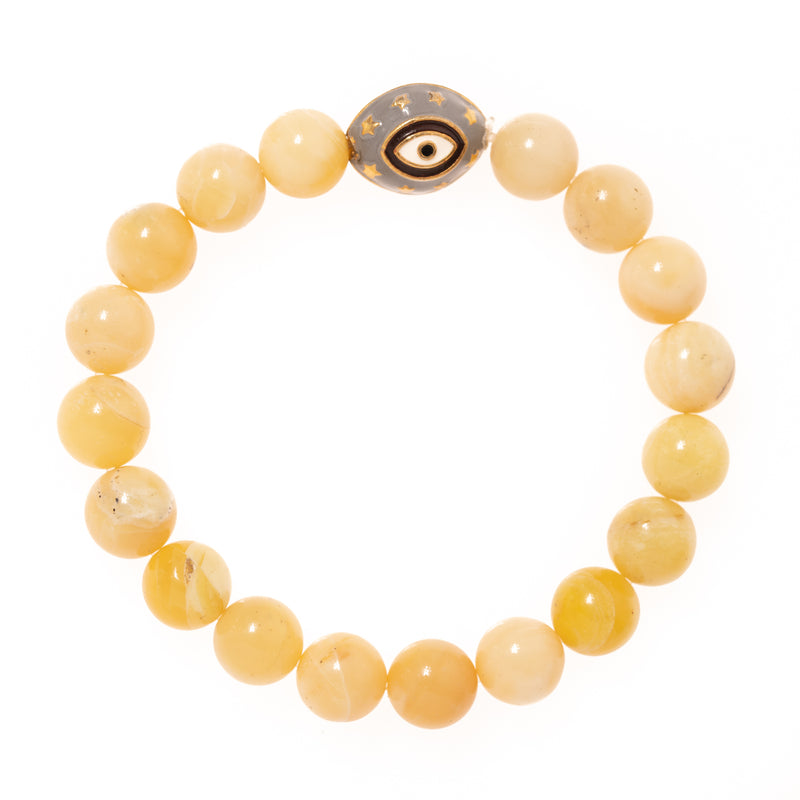 Yellow Jade with Enamel Eye Bead Bloom Bracelet