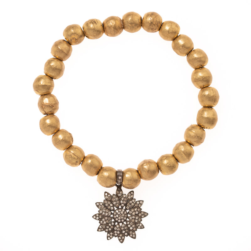 African Brass with Diamond Flower Pendant Bloom Bracelet
