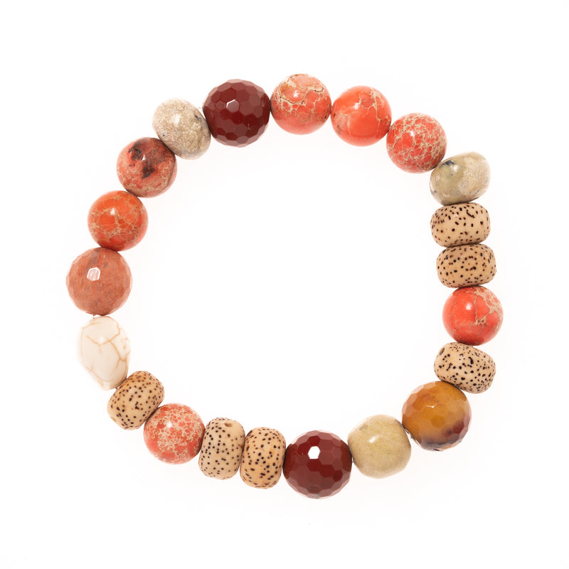 Lotus Seed, Imperial Pink Jasper, Mookaite Jasper, Stone and Resin Skull Bloom Bracelet