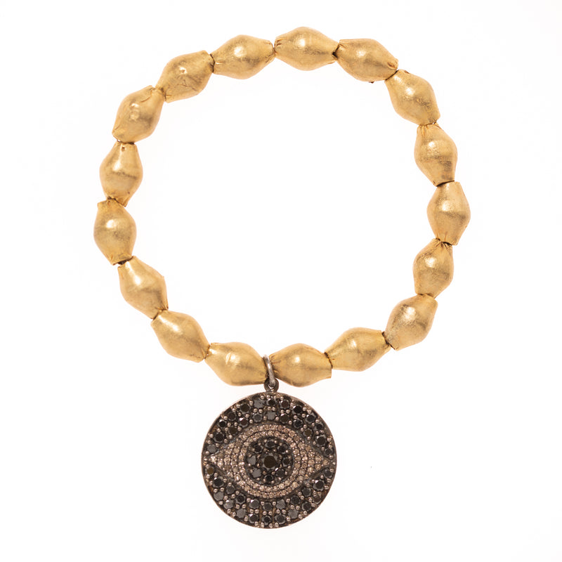 African Brass with Black and White Diamond Evil Eye Pendant Bloom Bracelet