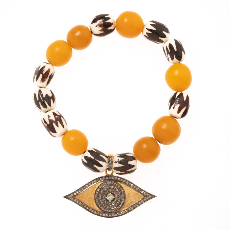 African Beads with Gold Plated, Diamond and Aquamarine Eye Pendant Bloom Bracelet