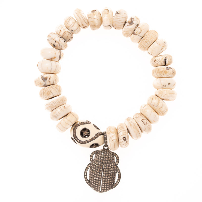 Carved Shell with Enamel and Diamond Bead and Silver Pave Bug Pendant Bloom Bracelet