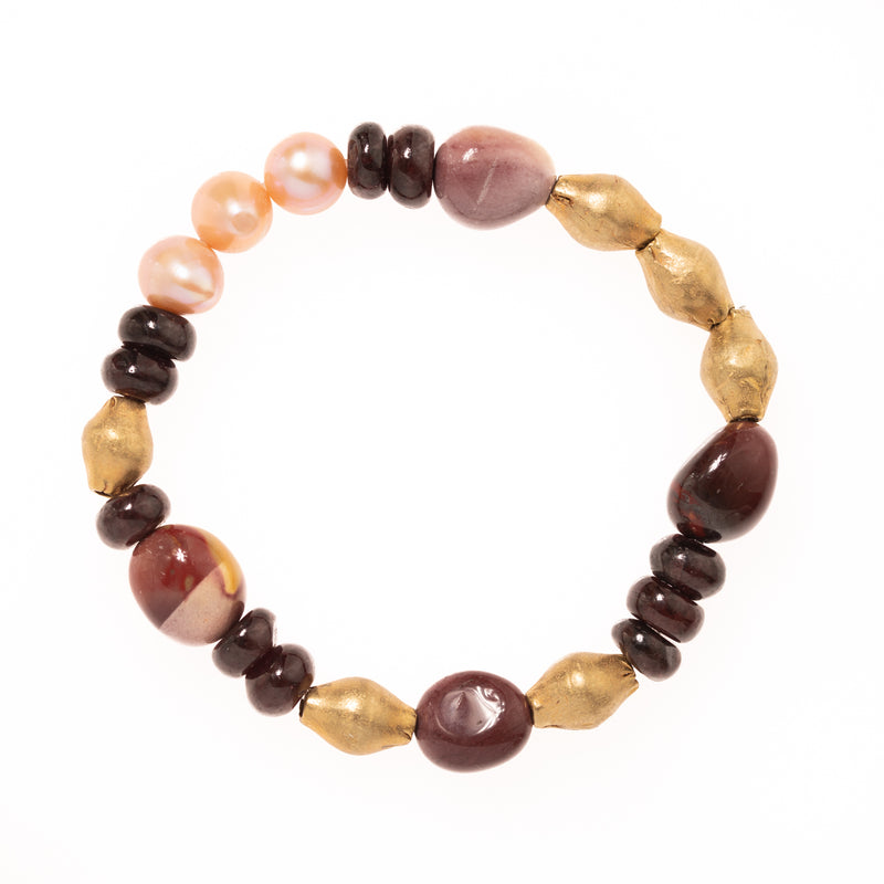 Red Garnet, Mookaite Jasper, Brass and Pearl Beads Bloom Bracelet