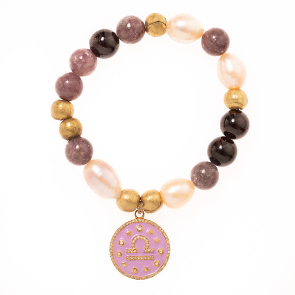 Lepidolite, Brass and Pearls with Diamond and Enamel Libra Pendant Bloom Bracelet