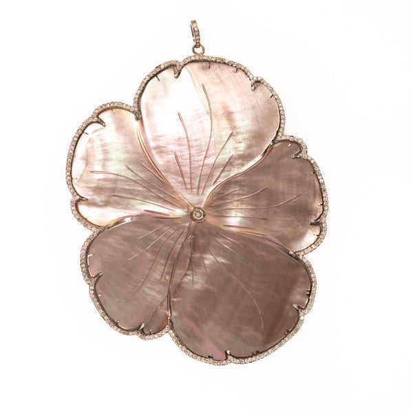 Black Mother of Pearl Flower Pendant