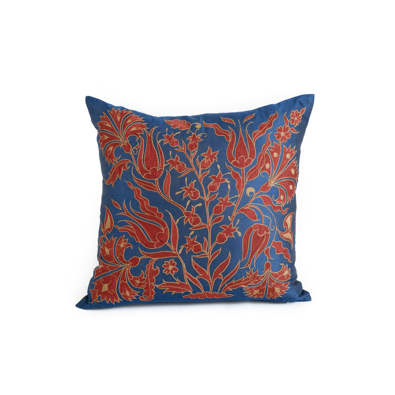 Uzbekistan Pillow Small - Blue Red Floral