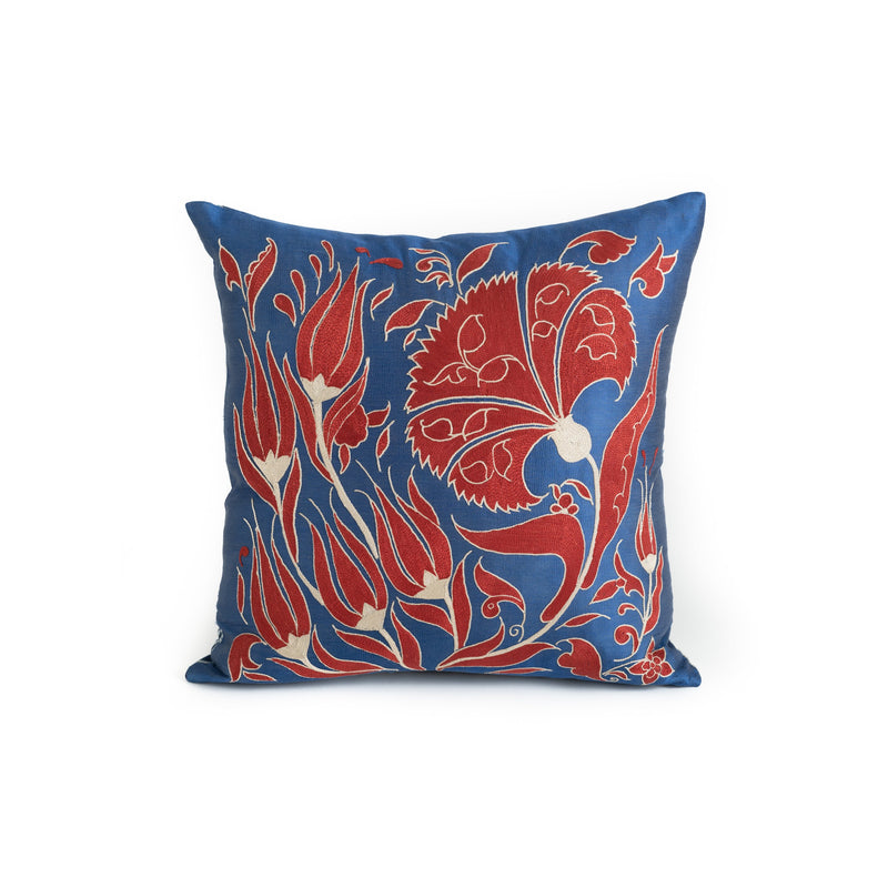 Uzbekistan Pillow Small - Blue Red and White Blooms