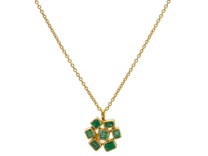 Emerald Cluster Pendant Necklace