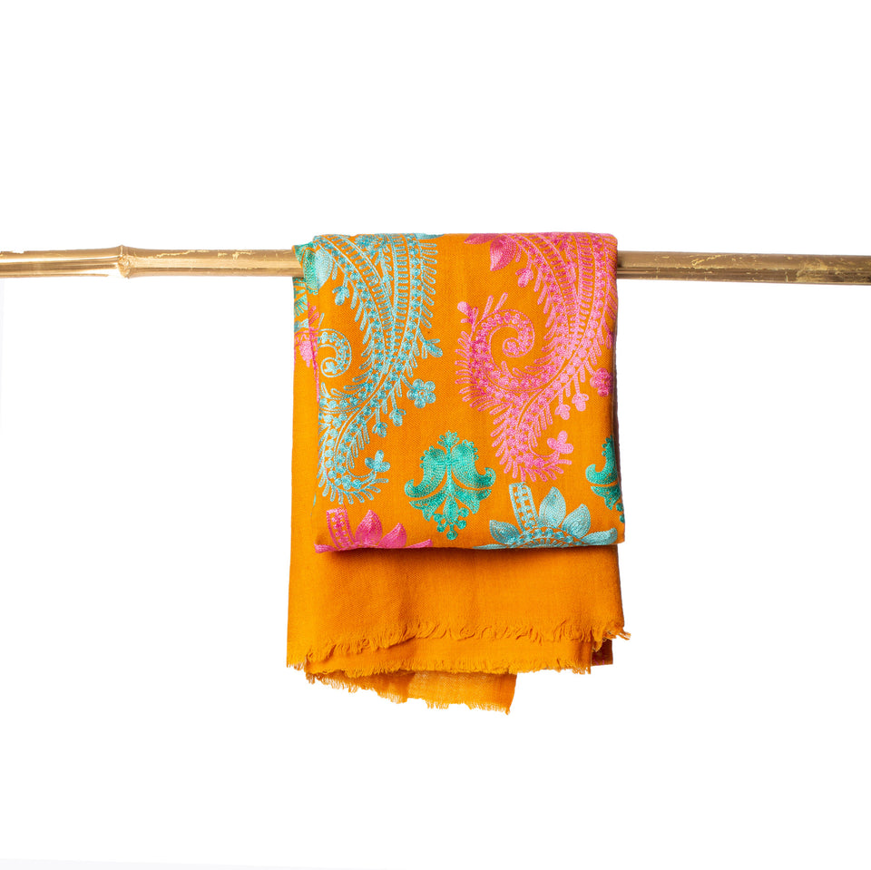 Paisley Embroidered Nepal Cashmere Scarf