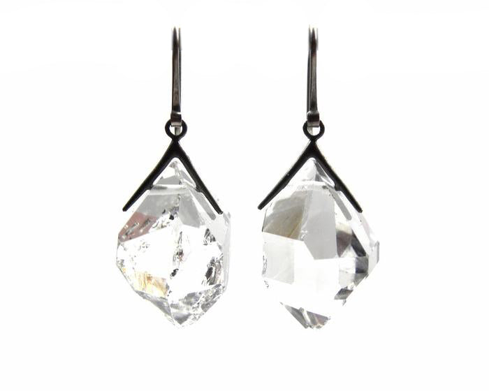 Large Sticks and Stones Herkimer Diamonds Earrings