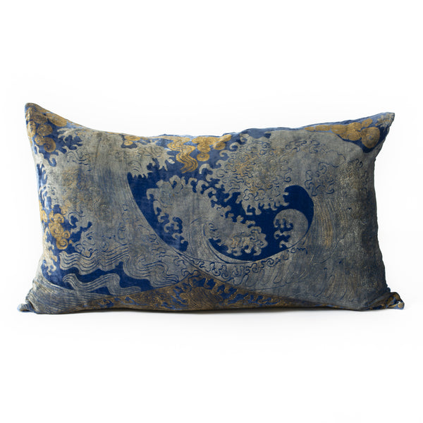 Velvet Hokusai Wave Pillow