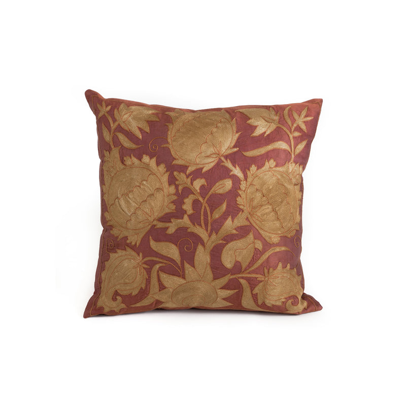 Uzbekistan Pillow Small - Dark Red with Gold Floral