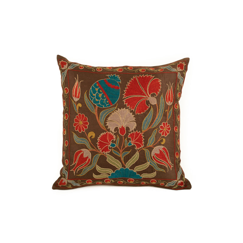 Uzbekistan Pillow Small - Dark Brown with Colorful Blooms