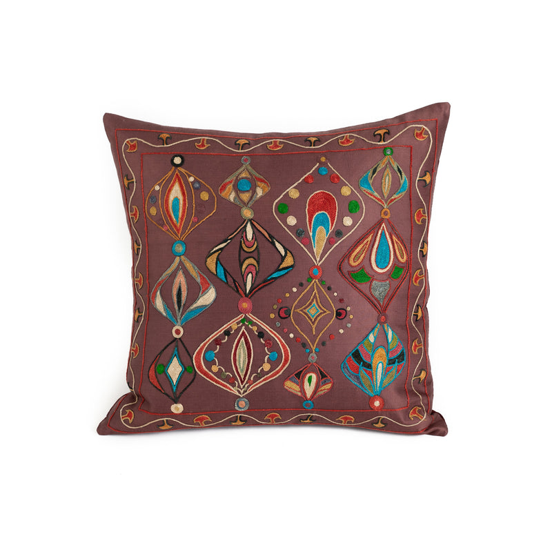Uzbekistan Pillow Small - Dark Brown with Colorful Ellipse