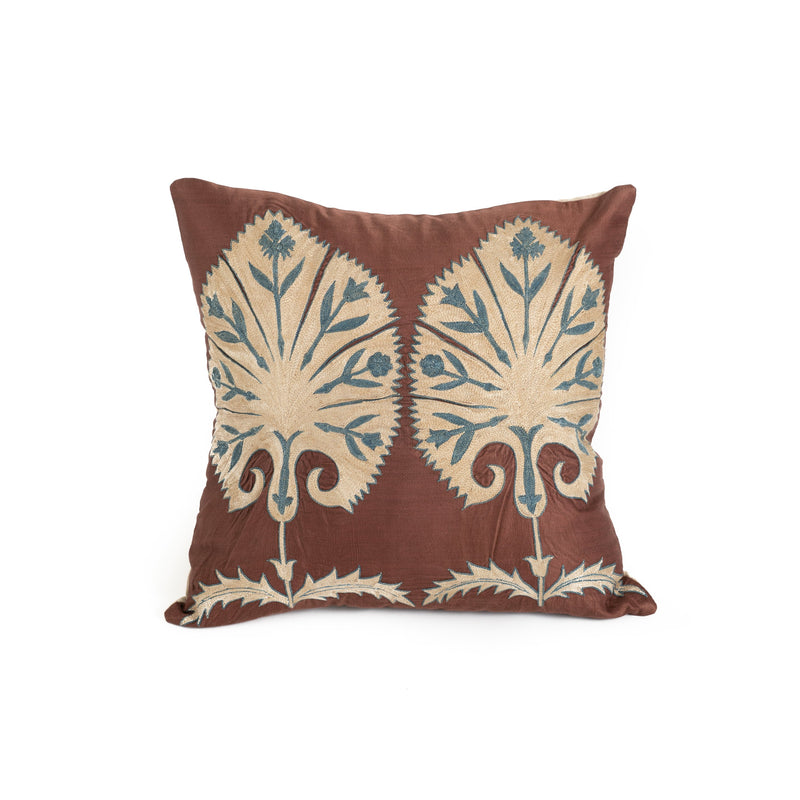 Uzbekistan Pillow Small - Dark Brown with Two White Blooms