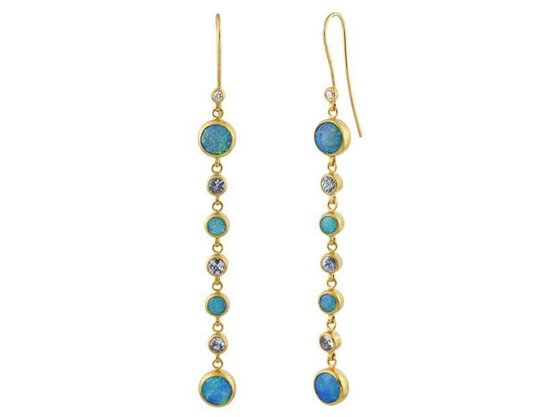 Pointelle Opal and Aquamarine Line Earrings