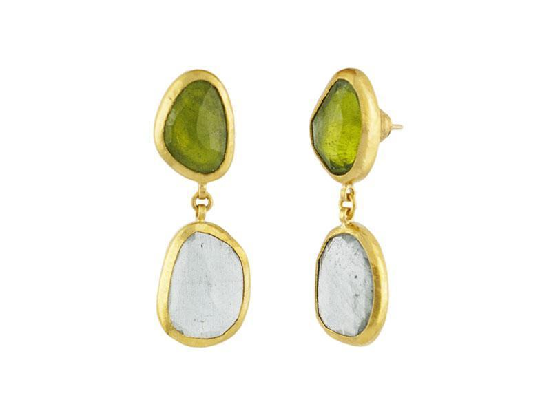 Moss Aqua and Vesuvianite Single Drop Earrings