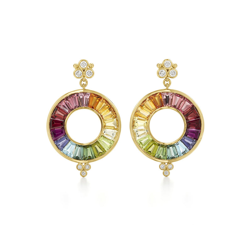 18K Color Wheel Halo Drop Earrings