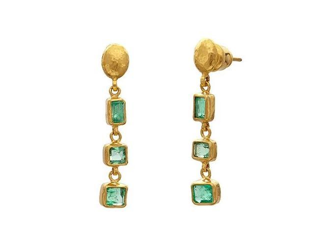 Mixed Emerald Triple Drop Earrings